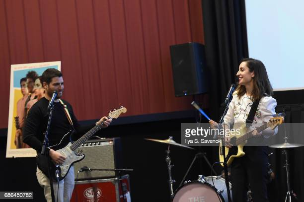 Adam Pally and Zoe ListerJones perform at the Band Aid screening at Alamo Drafthouse Theater during Vulture Festival on May 21 2017 in New York City