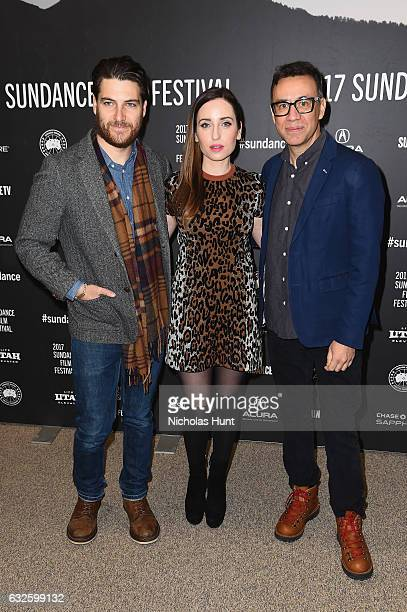 Adam Pally director Zoe ListerJones and Fred Armisen attend the Band Aid Premiere at Eccles Center Theatre on January 24 2017 in Park City Utah