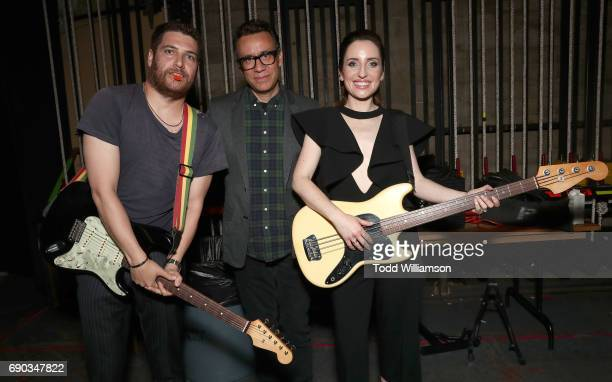 Adam Pally Fred Armisen and Zoe ListerJones pose after playing at the after party for the premiere of IFC Films' 'Band Aid' on May 30 2017 in Los...