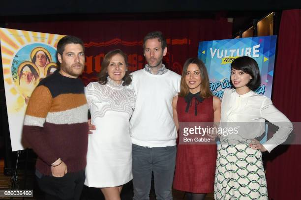 """Adam Pally, Molly Shannon, director Jeff Baena, Aubrey Plaza and Kate Micucci attend the """"The Little Hours"""" Screening at the Alamo Drafthouse Theate..."""