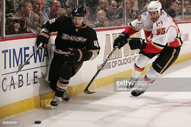 Adam Pardy of the Calgary Flames chases the puck alongside the boards against Andrew Ebbett of the Anaheim Ducks during the game on February 11 2009...