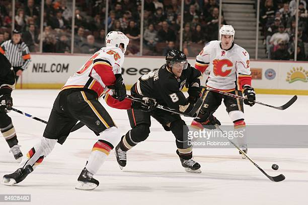 Adam Pardy of the Calgary Flames defends against Teemu Selanne of the Anaheim Ducks during the game on February 11 2009 at Honda Center in Anaheim...