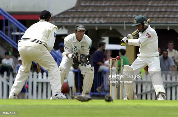 Adam Parore watches as Aminul Islam keeps a close eye on his wicket during the Cricket Test NZ v Bangladesh in Wellington