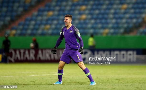 Adam Pavlesic goalkeeper of Australia celebrates his team's 2nd goal during the FIFA U17 World Cup Brazil 2019 Group B match between Australia and...