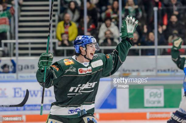 Adam Payerl of AEV Augsburger Panther celebrates during the DEL match between AEV Augsburger Panther and ERC Ingolstadt at CurtFrenzel Stadion on...