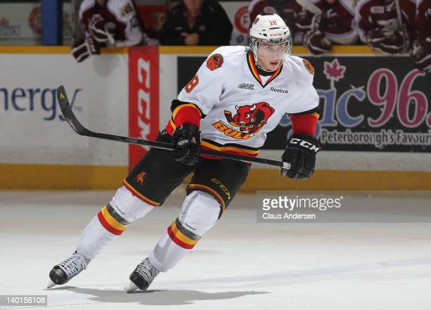 Adam Payerl of the Belleville Bulls skates in a game against the Peterborough Petes on February 26 2012 at the Peterborough Memorial Centre in...