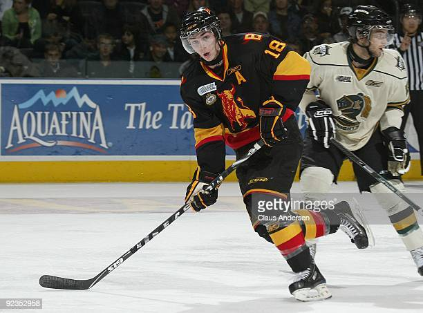 Adam Payerl of the Belleville Bulls skates in a game against the London Knights on October 23 2009 at the John Labatt Centre in London Ontario Canada...