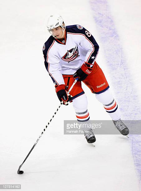 Adam Payerl of the Columbus Blue Jackets handles the puck during warmups before the game against the Minnesota Wild on September 23 2011 at Xcel...