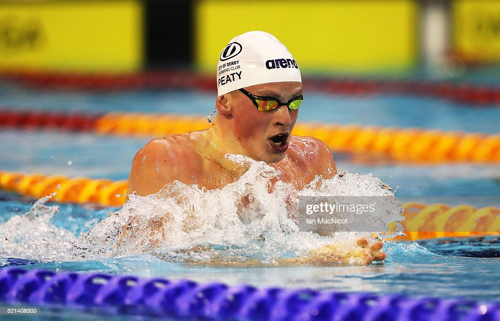 Adam Peaty competes in the final of the Men's 200m Breaststroke during Day Four of The British Swimming Championships at Tollcross International Swimming Centre on April 15, 2016 in Glasgow, Scotland.