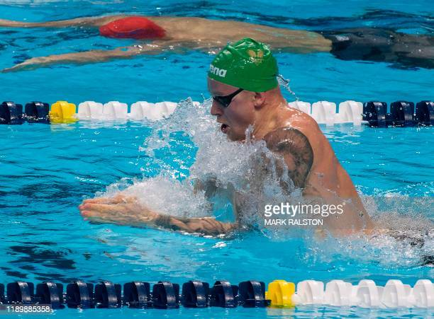 Adam Peaty of Britain swimming for the London Roar team competes before winning the Men's 100m Breaststroke race during the International Swimming...