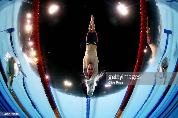 Adam Peaty of England competes during the Men's 50m Breaststroke Semifinal 2 on day four of the Gold Coast 2018 Commonwealth Games at Optus Aquatic...