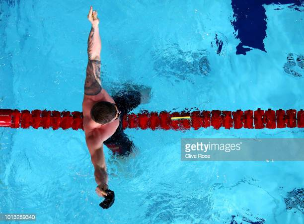 Adam Peaty of Great Britain celebrates winning the Men's 50m Breaststroke Final during the swimming on Day seven of the European Championships...