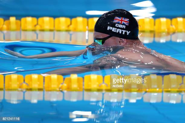 Adam Peaty of Great Britain competes during the Men's 100m Breaststroke Semifinals on day ten of the Budapest 2017 FINA World Championships on July...