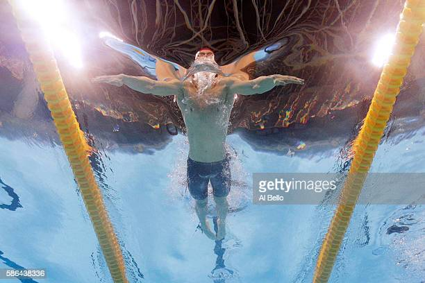 Adam Peaty of Great Britain competes in heat six of the Men's 100m Breaststroke on Day 1 of the Rio 2016 Olympic Games at the Olympic Aquatics...