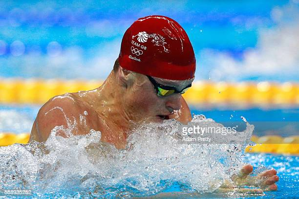 Adam Peaty of Great Britain competes in the Men's 4 x 100m Medley Relay heat on Day 7 of the Rio 2016 Olympic Games at the Olympic Aquatics Stadium...