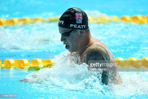 Adam Peaty of Great Britain competes in the Men's 4x100m Medley Relay Final on day eight of the Gwangju 2019 FINA World Championships at Nambu...