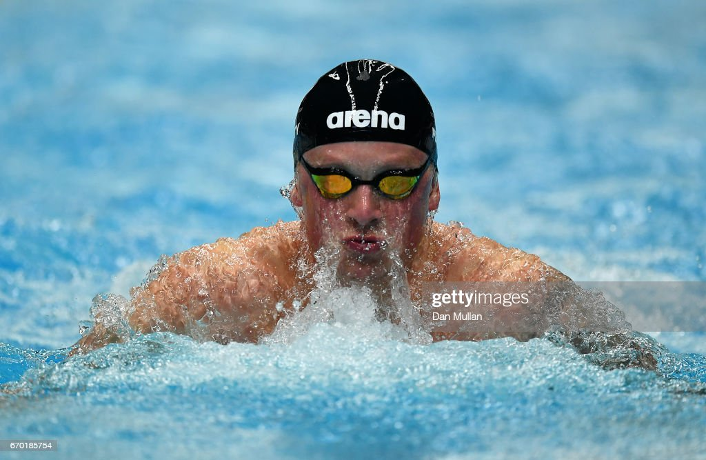 Adam Peaty of Great Britain competes in the Mens Open 50m Breaststroke Heats on day two of the 2017 British Swimming Championships at Ponds Forge on April 19, 2017 in Sheffield, England.