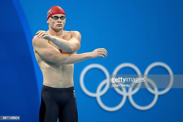 Adam Peaty of Great Britain prepares before the Men's 100m Breaststroke Final on Day 2 of the Rio 2016 Olympic Games at the Olympic Aquatics Stadium...
