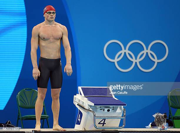 Adam Peaty of Great Britain prepares for the Men's 100m Breaststroke Final during the swimming competition of the 2016 Olympic Games at Olympic...