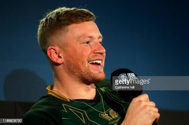 Adam Peaty of London Roar speaks to the press during Day Two of the International Swimming League at Aquatics Centre on November 24 2019 in London...