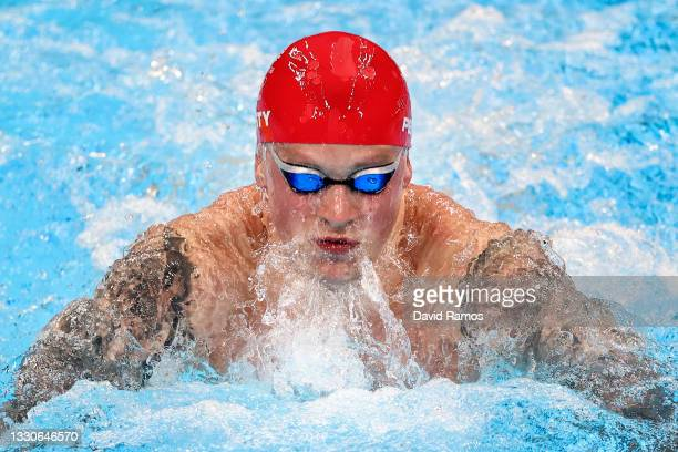 Adam Peaty of Team Great Britain competes in the Men's 100m Breaststroke Final on day three of the Tokyo 2020 Olympic Games at Tokyo Aquatics Centre...