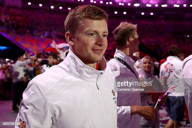 Adam Peaty of Team Great Britain walks during the 'Heroes of the Games' segment during the Closing Ceremony on Day 16 of the Rio 2016 Olympic Games...