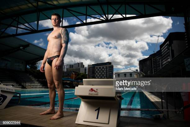 Adam Peaty poses during a Team England media opportunity ahead of the 2018 Gold Coast Commonwealth Games at Somerville High School on March 28 2018...