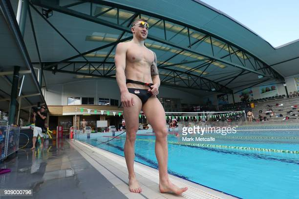 Adam Peaty swims during a Team England media opportunity ahead of the 2018 Gold Coast Commonwealth Games at Somerville High School on March 28 2018...
