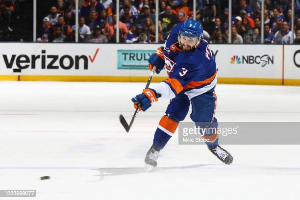 Adam Pelech of the New York Islanders in action against the Tampa Bay Lightning in Game Six of the Stanley Cup Semifinals of the 2021 Stanley Cup...
