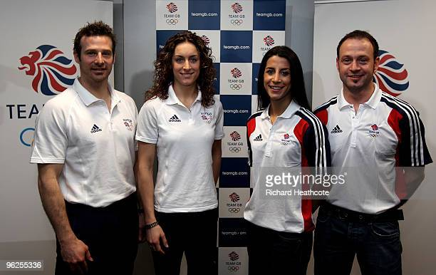 Adam Pengilly, Amy Williams, Shelley Rudman and Kristian Bromley pose for a picture during the announcement of the Team GB Skeleton Athletes who will...