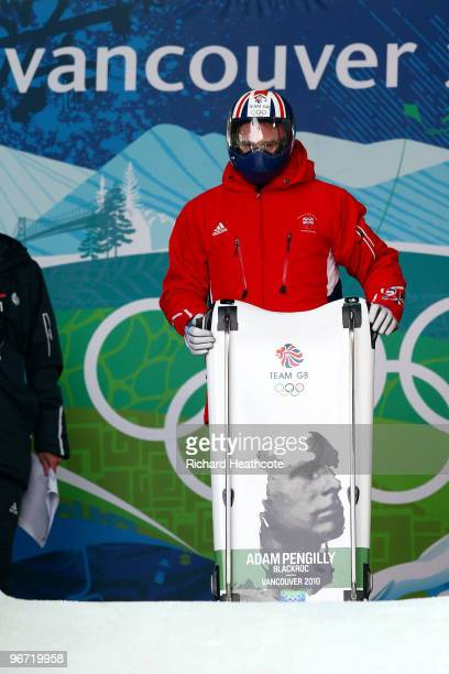 Adam Pengilly of Great Britain and Northern Ireland prepares to compete in the men's skeleton training on day 4 of the 2010 Winter Olympics at...