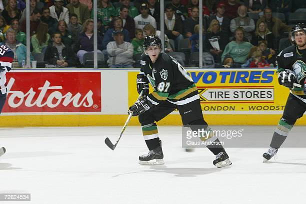 Adam Perry of the London Knights skates against the Saginaw Spirit at the John Labatt Centre on September 22, 2006 in London, Ontario, Canada.