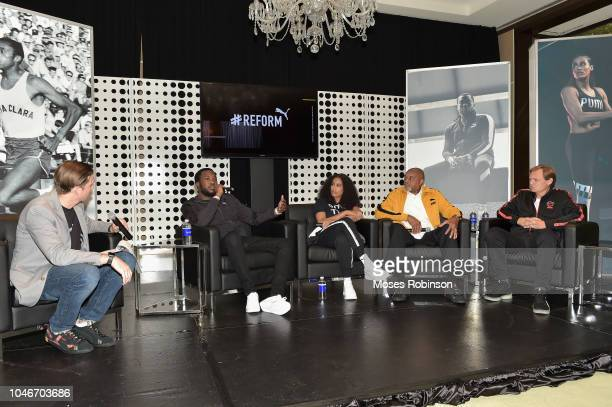 Adam Petrick, Meek Mill, Skylar Diggins-Smith, Tommie Smith and Bjorn Gulden attend the PUMA #Reform To Drive Social Change launch at Atlanta History...
