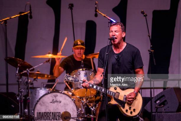 Adam Pfahler and Blake Schwarzenbach of Jawbreaker perform at Statesman Skyline Theater on July 13 2018 in Austin Texas