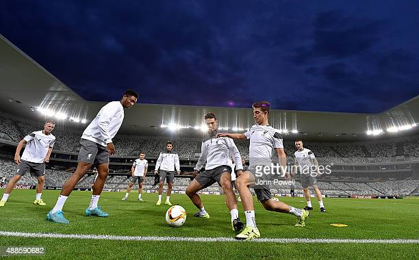 Adam Phillips Cameron Brannagan and Joe Gomez of Liverpool in action during a training session at Nouveau Stade Bordeaux on September 16 2015 in...