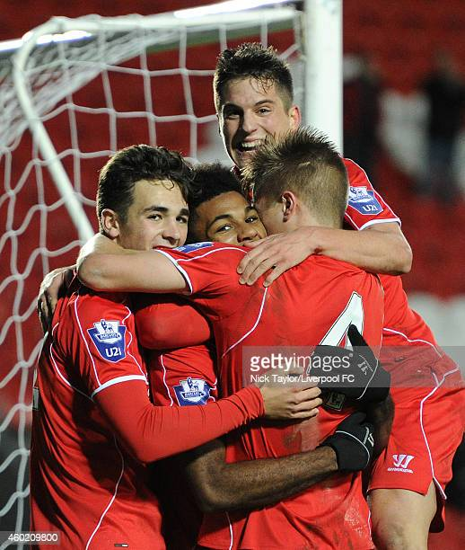 Adam Phillips Jerome Sinclair Sergi Canos and Daniel Cleary of Liverpool celebrate Jerome Sinclair's goal during the UEFA Youth League fixture...