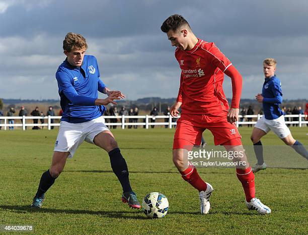 Adam Phillips of Liverpool and Jack Bainbridge of Everton in action during the U18 Premier League match between Everton and Liverpool at Finch Farm...