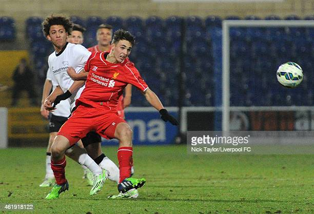 Adam Phillips of Liverpool and Kellan Gordon of Derby County in action during the FA Youth Cup 4th Round fixture between Liverpool and Derby County...
