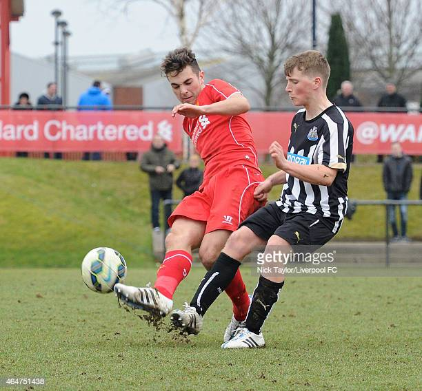 Adam Phillips of Liverpool and Stefen Broccoli of Newcastle United in action during the U18 Premier League match between Liverpool and Newcastle...