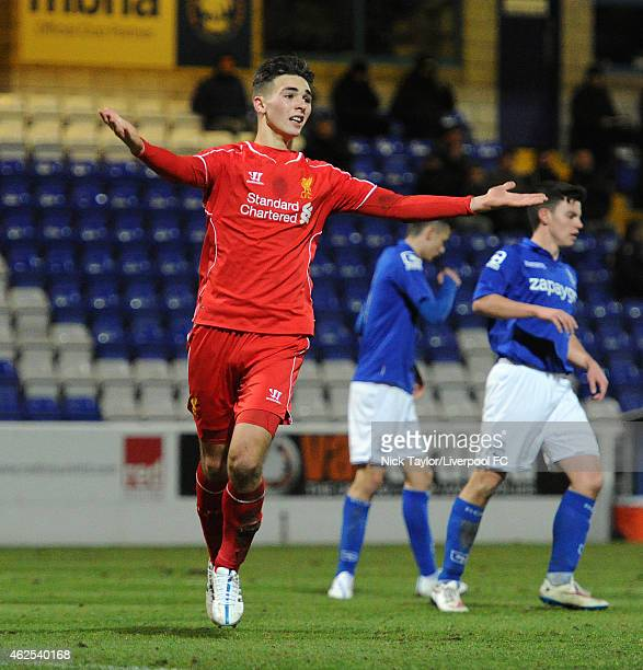 Adam Phillips of Liverpool appeals to the assistant referee during the FA Youth Cup 5th Round match between Liverpool and Birmingham City at The...