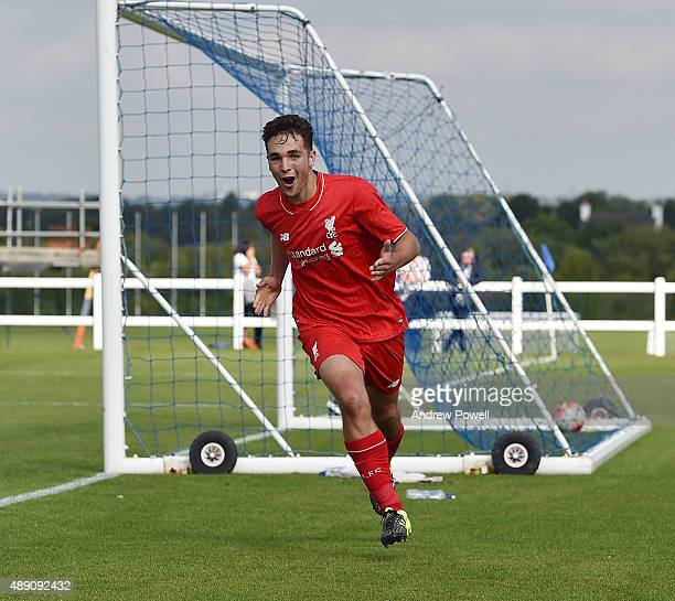 Adam Phillips of Liverpool celebrates after scoing the equalising goal during the Barclays Premier League U18 match bewteen Everton v Liverpool U18...