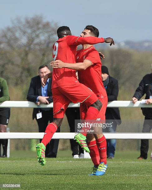 Adam Phillips of Liverpool celebrates his goal with team mate Toni Gomes during the Everton v Liverpool U18 Premier League game at Finch Farm on...