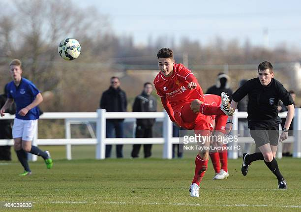 Adam Phillips of Liverpool in action during the U18 Premier League match between Everton and Liverpool at Finch Farm on February 21 2015 in Halewood...