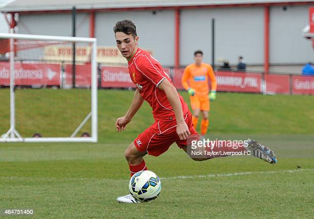 Adam Phillips of Liverpool in action during the U18 Premier League match between Liverpool and Newcastle United on February 28 2015 in Kirkby England
