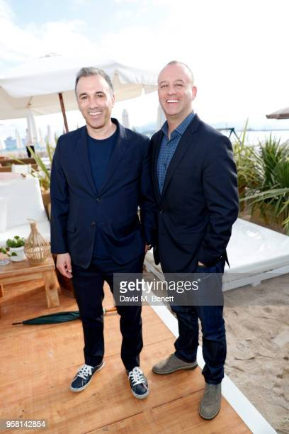Adam Pincus and Michael Bloom attend the Leave No Trace party presented by Perrier-Jouet at Nikki Beach on May 13, 2018 in Cannes, France.