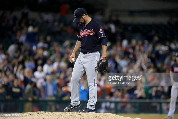 Adam Plutko of the Cleveland Indians kicks at the mound after giving up a threerun home run to Justin Upton of the Detroit Tigers during the seventh...