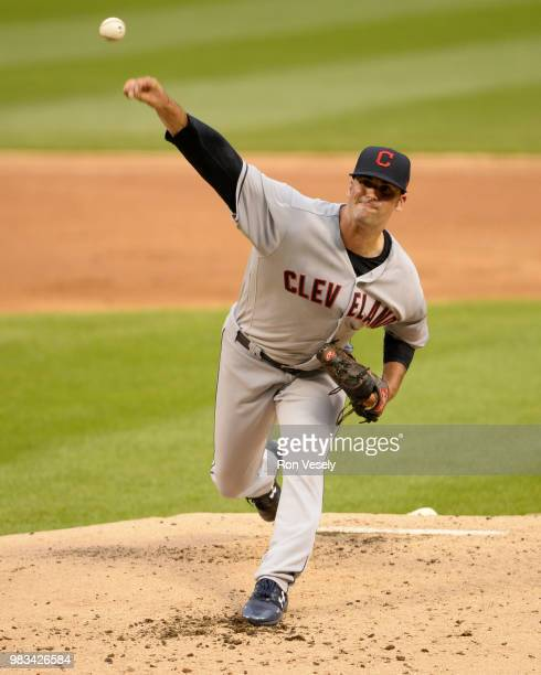 Adam Plutko of the Cleveland Indians pitches against the Chicago White Sox on June 12 2018 at Guaranteed Rate Field in Chicago Illinois