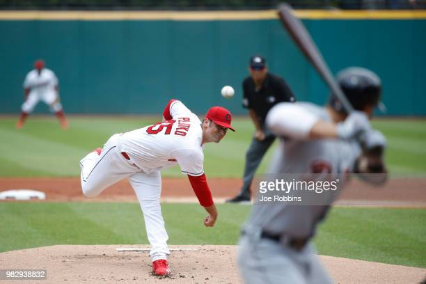 Adam Plutko of the Cleveland Indians pitches in the first inning against the Detroit Tigers at Progressive Field on June 24 2018 in Cleveland Ohio