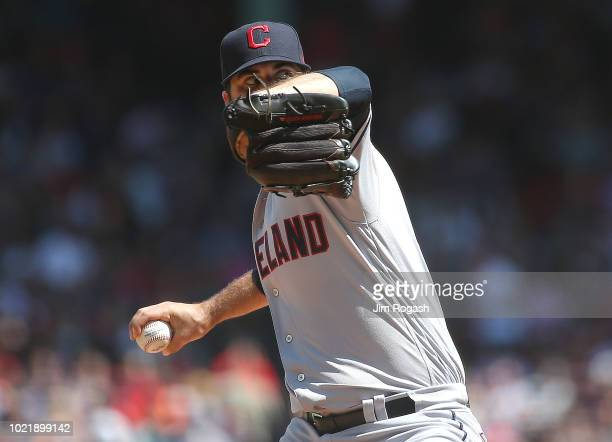 Adam Plutko of the Cleveland Indians throws against the Boston Red Sox in the first inning at Fenway Park on August 23 2018 in Boston Massachusetts