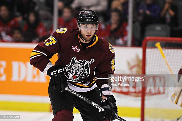 Adam Polasek of the Chicago Wolves waits for the puck at Abbotsford Entertainment and Sports Centre on January 11 2013 in Abbotsford Canada